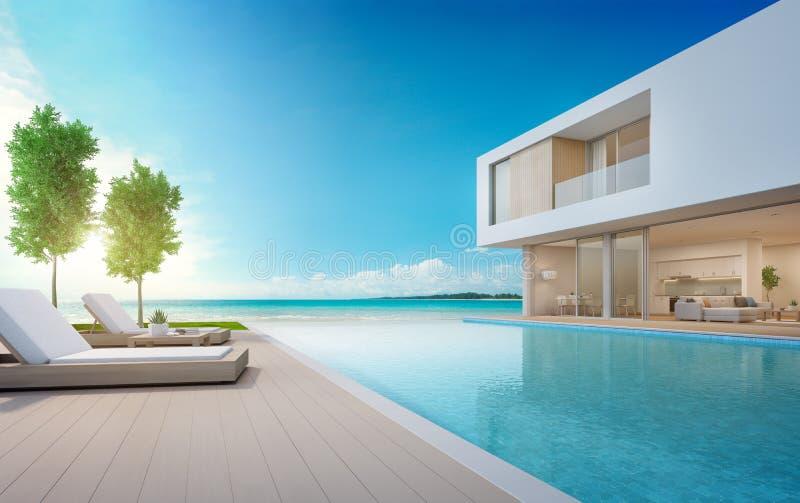 Casa de playa de lujo con la piscina de la opinión del mar y terraza en el diseño moderno, sillones en cubierta de piso de madera ilustración del vector