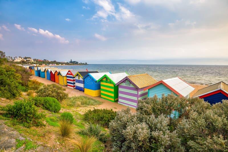 Casa de praia colorida em Brighton Beach, Melbourne imagem de stock