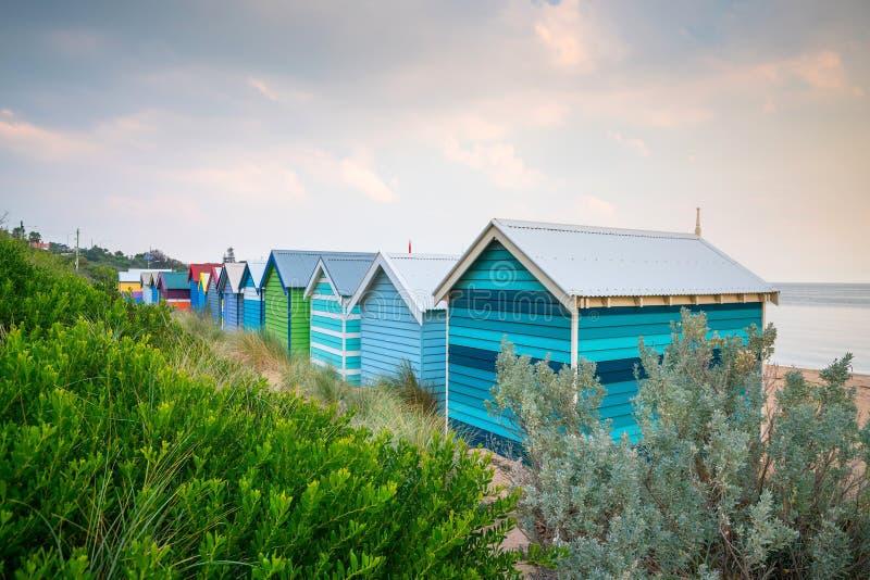 Casa de praia colorida em Brighton Beach, Melbourne foto de stock royalty free
