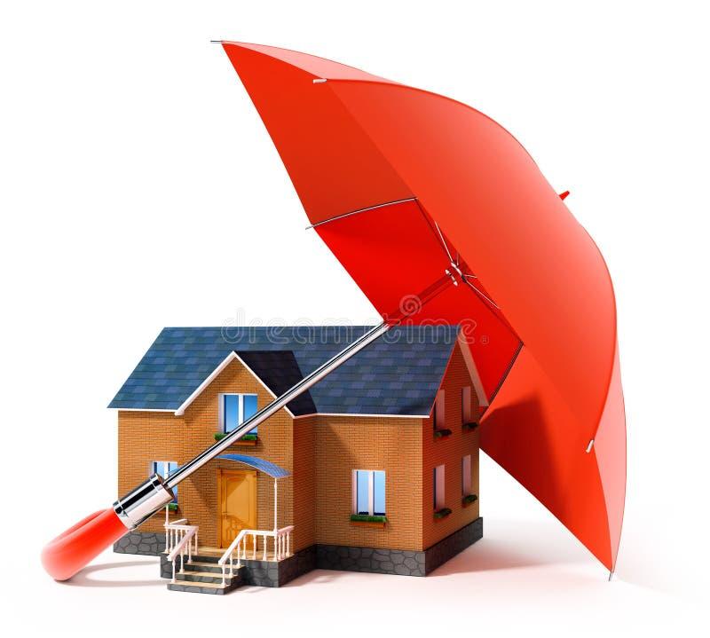 Casa de protecção do guarda-chuva vermelho da chuva ilustração stock