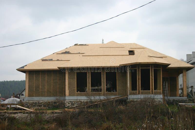 Casa de quadro feita da palha foto de stock