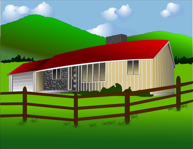 A casa de rancho ilustração stock