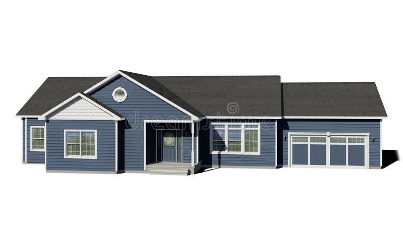 Casa de rancho - azul ilustração royalty free