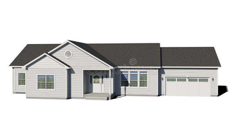 Casa de rancho - branco ilustração do vetor