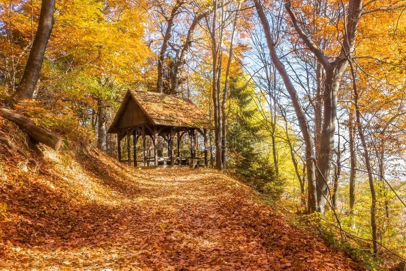 Casa de reclinación de madera imagen de archivo