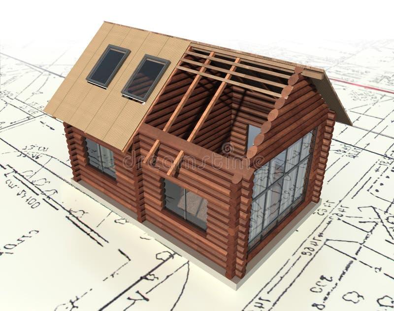 Casa de registro de madeira no plano director. imagem de stock
