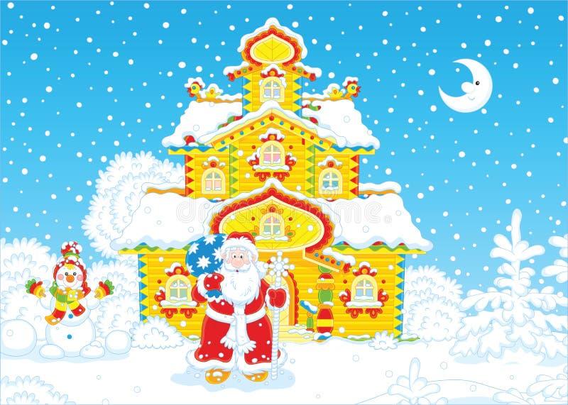 Casa de Santa Claus el Nochebuena ilustración del vector