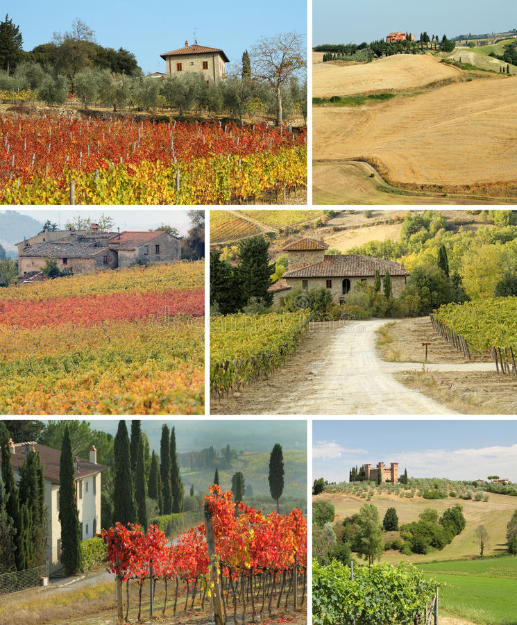 Casa de Tuscan na paisagem idílico, colagem imagem de stock royalty free