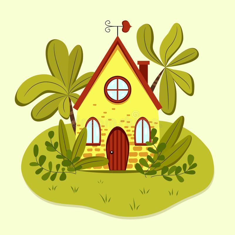 Casa de verano amarilla linda con la paleta de viento en forma de corazón libre illustration