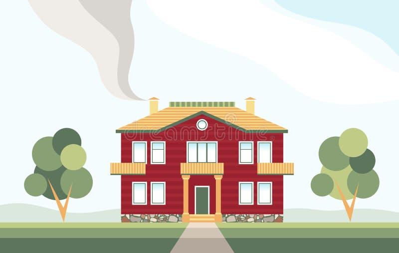 Casa de vida con los árboles Cabaña de dos pisos Domicilio familiar stock de ilustración