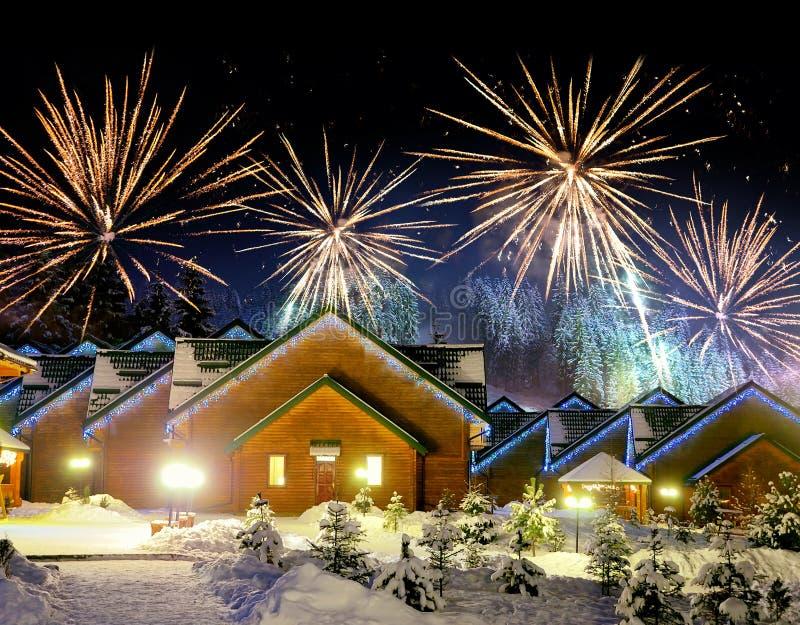 Casa decorada com luzes de Natal fotos de stock