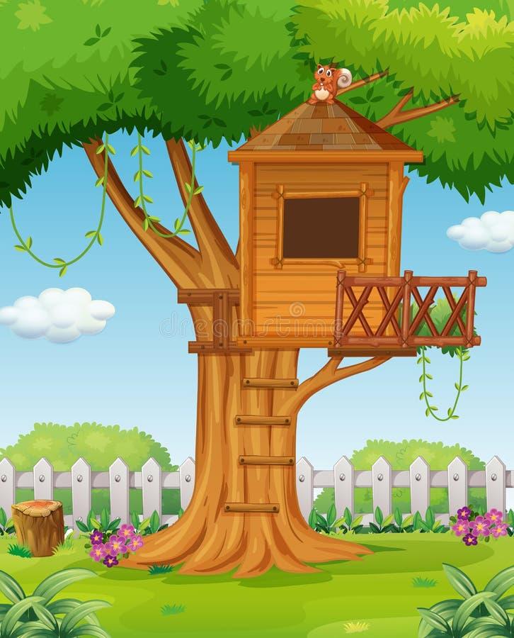 Casa del árbol en el jardín ilustración del vector