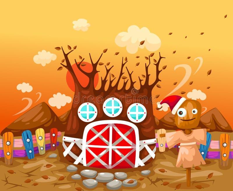 Casa del árbol en la estación del otoño ilustración del vector