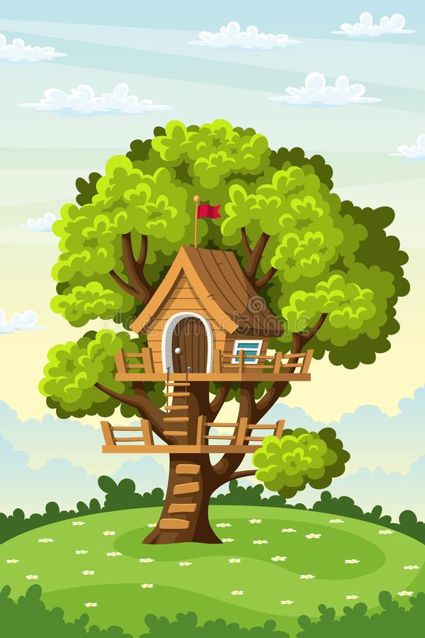 Casa del árbol en un prado stock de ilustración