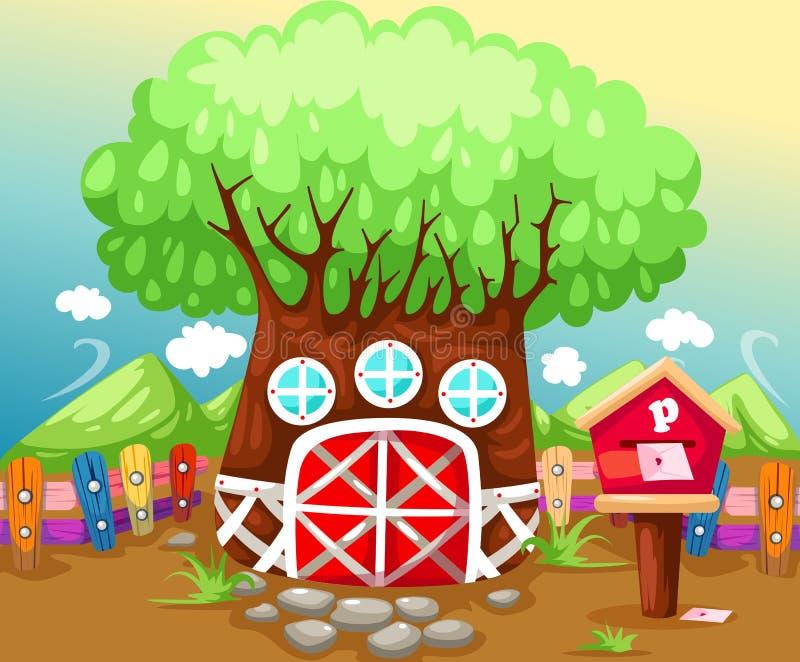 Casa del árbol en verano stock de ilustración