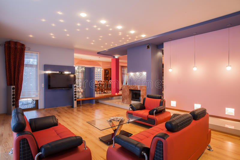 Casa del amaranto - interior de la sala de estar fotos de archivo libres de regalías