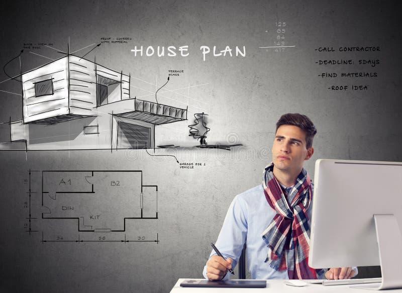 Casa del arquitecto que acepilla - diseño imagen de archivo