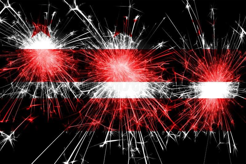 Casa del blanco de la C Bandera chispeante de los fuegos artificiales de C Concepto del Año Nuevo, de la Navidad y del día nacion libre illustration