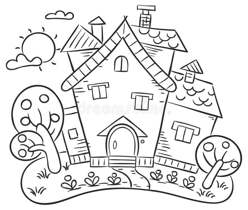 Casa del campo con un jardín libre illustration