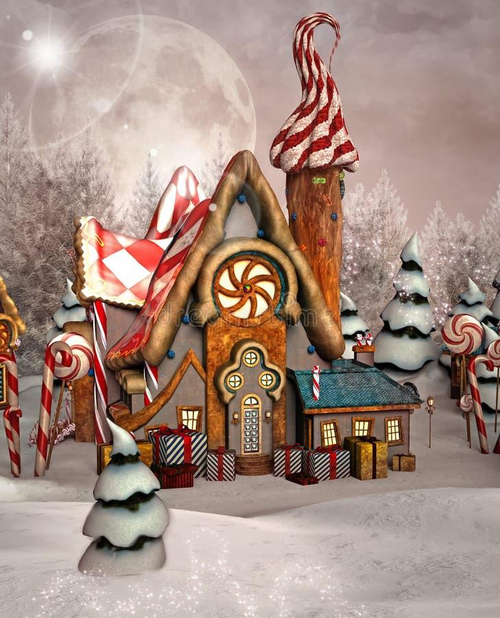 Casa del caramelo por un bosque nevoso del invierno ilustración del vector