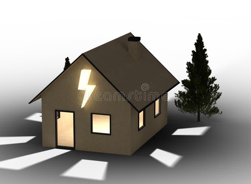 Casa del cartone di Qlowing con il simbolo istantaneo Isolato su priorità bassa bianca fotografia stock libera da diritti
