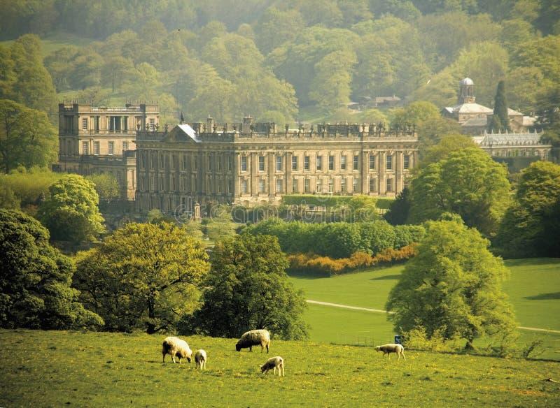 Casa del chatsworth de Inglaterra Derbyshire fotografía de archivo