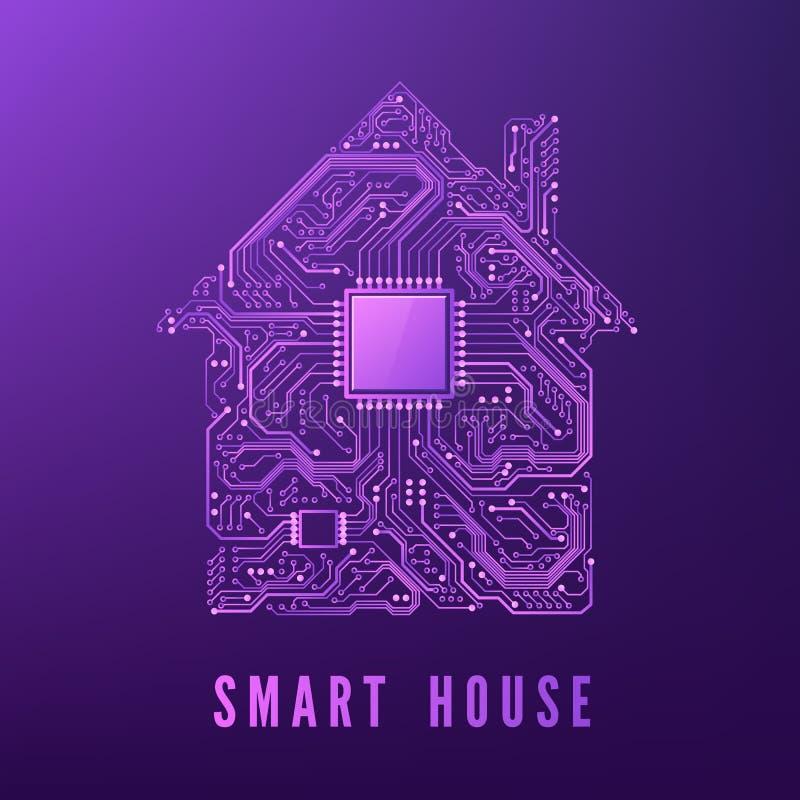 Casa del circuito Concetto della casa intelligente illustrazione di vettore isolata su fondo porpora illustrazione di stock