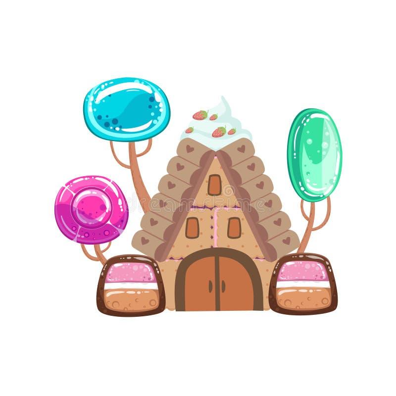 Casa del cuento de hadas con el elemento dulce del paisaje de la tierra del caramelo de la fantasía de los árboles del caramelo ilustración del vector