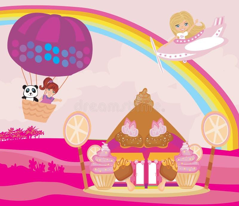 Casa del cuento de hadas del caramelo stock de ilustración