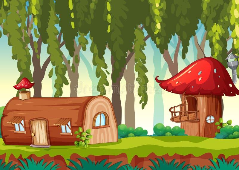 Casa del cuento de hadas en naturaleza libre illustration