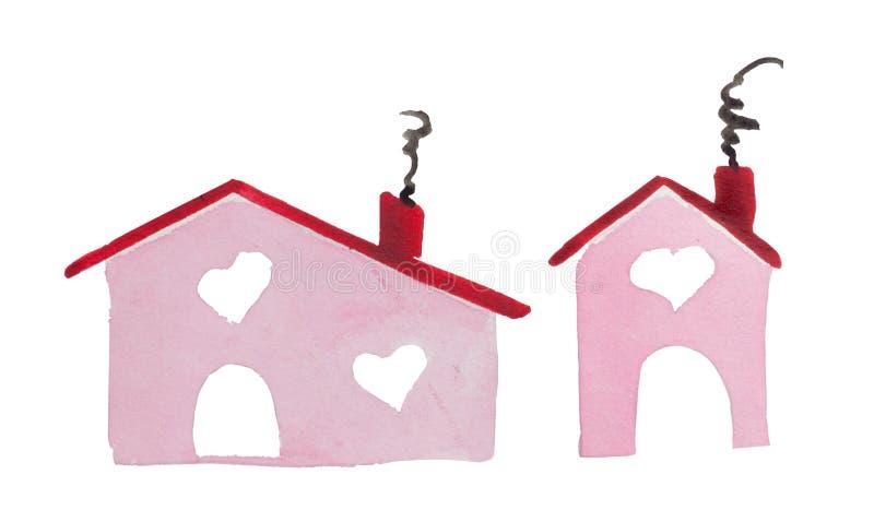 Casa del ` del día del ` s de la tarjeta del día de San Valentín del St de la acuarela del ` del amor el lugar donde está su amor ilustración del vector