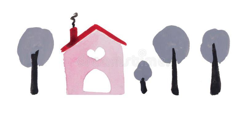 Casa del ` del día del ` s de la tarjeta del día de San Valentín del St de la acuarela del ` del amor 2 el lugar donde está su am foto de archivo