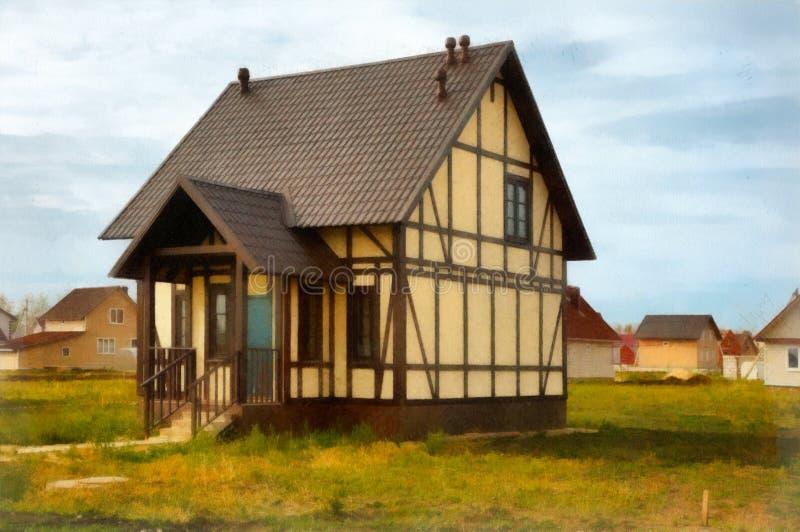 Casa del dibujo de la acuarela nueva en venta imagenes de archivo