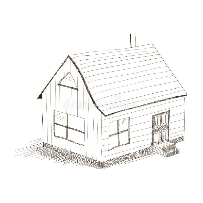 Casa del disegno della mano illustrazione vettoriale
