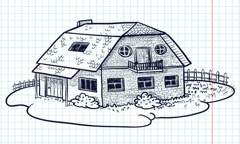 Casa del Doodle stock de ilustración