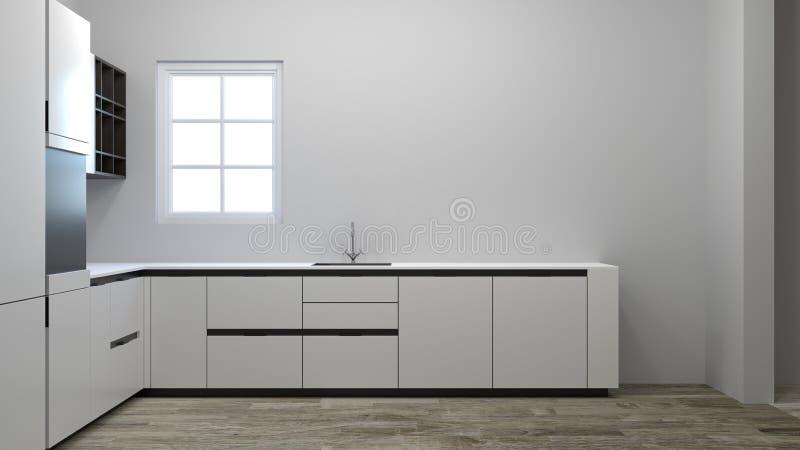 Casa del ejemplo de la decoración 3d del armario de cocina que espera vacío para la nueva que espera al dueño, muebles, estantes, imagen de archivo