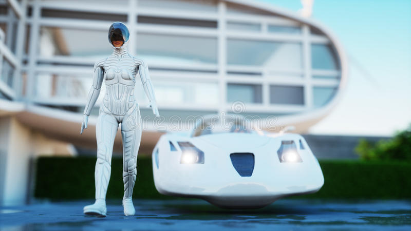 Casa del futuro Coche futurista del vuelo con la mujer que camina representación 3d stock de ilustración