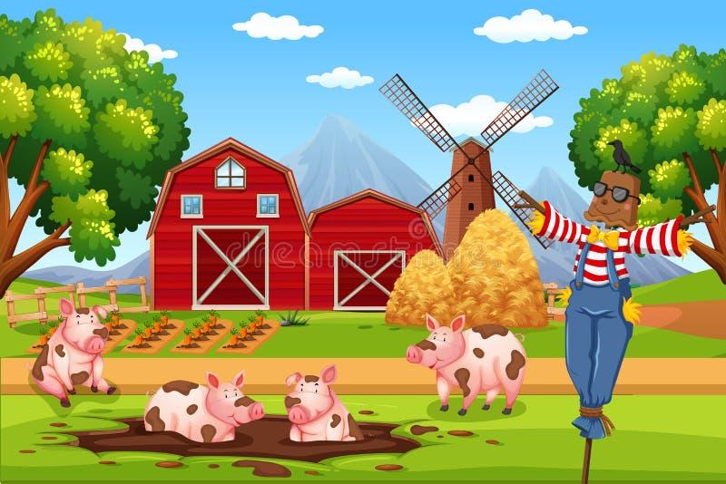Casa del granero en paisaje rural stock de ilustración