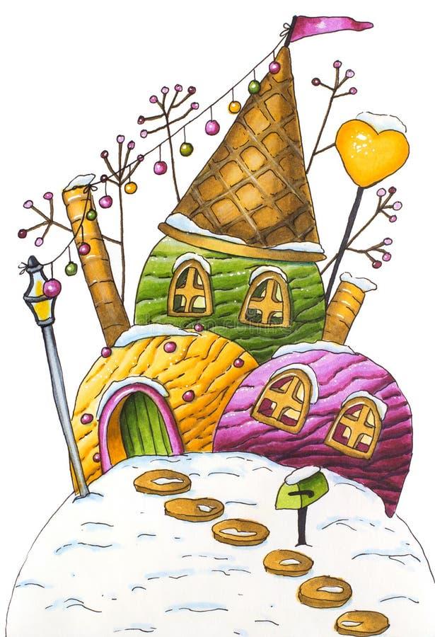 Casa del helado del invierno con la linterna y los caramelos ilustración del vector