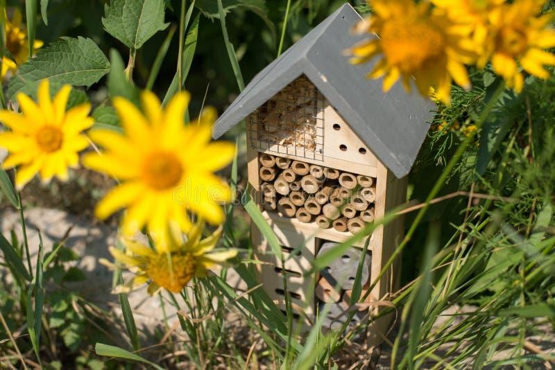 Casa del hotel del insecto en jardín imágenes de archivo libres de regalías