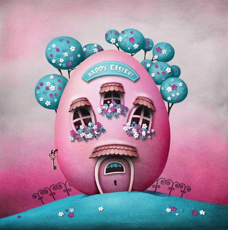 Casa del huevo de Pascua stock de ilustración