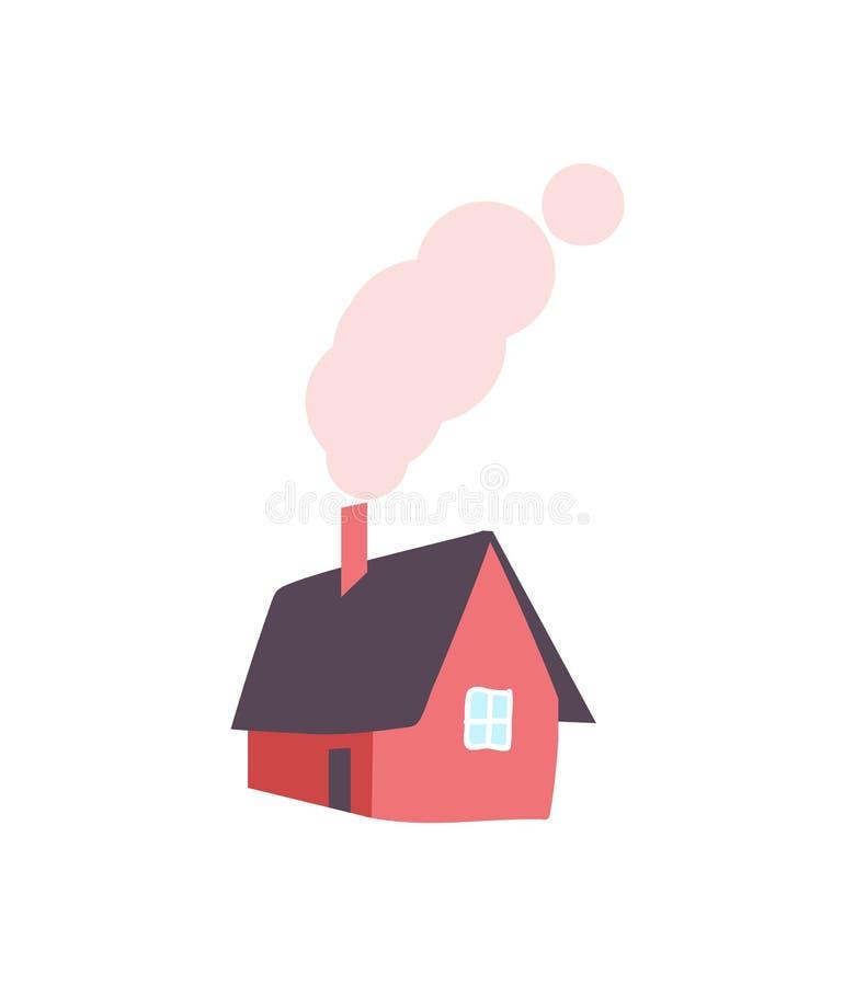 Casa del invierno con la chimenea, humo del tubo, vector ilustración del vector