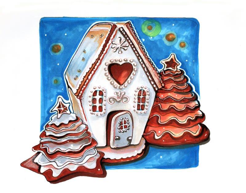Casa del invierno del pan de jengibre, mano dibujada ilustración del vector