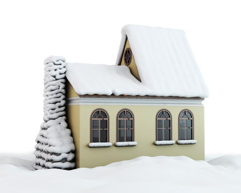 Casa del invierno en un blanco ilustración del vector