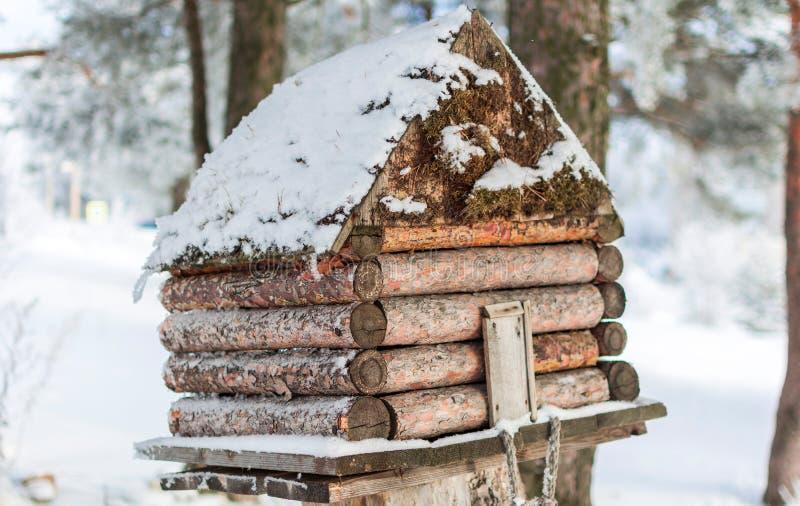Casa del invierno para los pájaros en el árbol fotos de archivo
