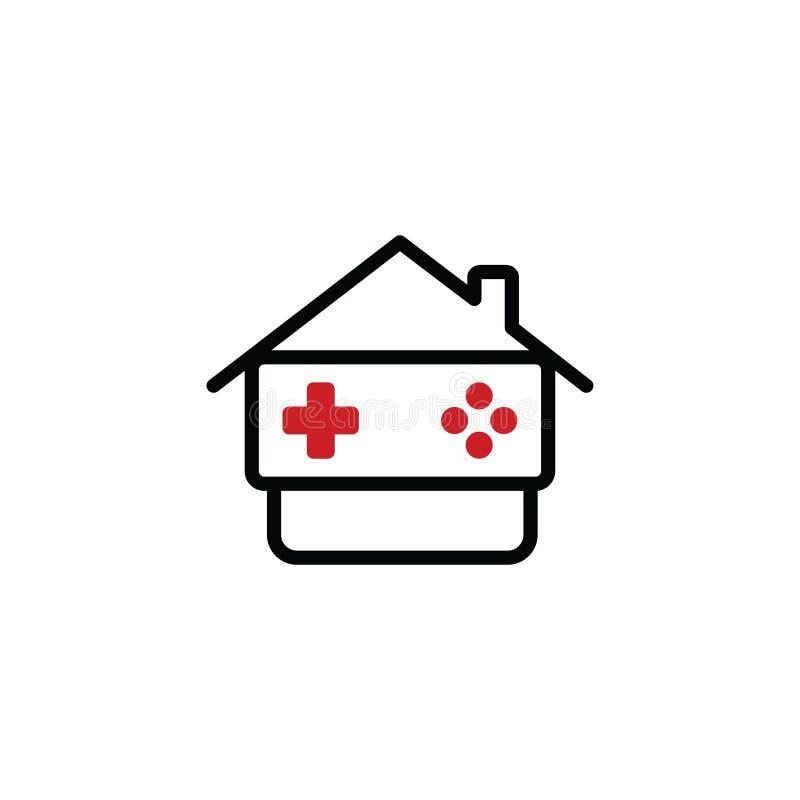 Casa del juego - consola del videojuego - videojugador - palanca de mando ilustración del vector