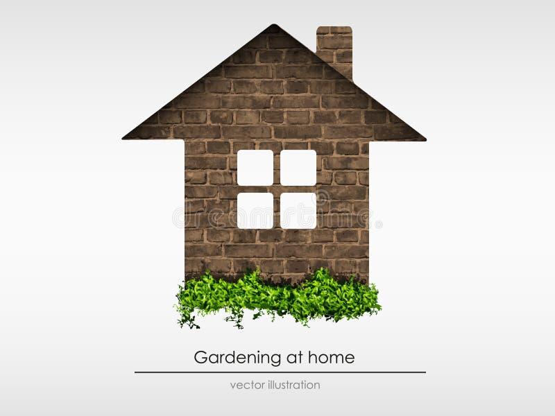 Casa del ladrillo con la hierba stock de ilustración