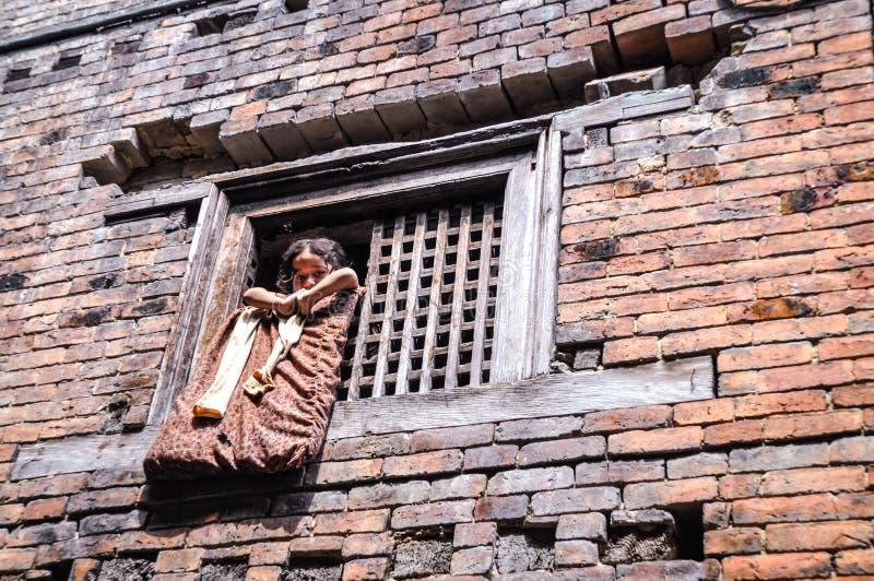 Casa del ladrillo en Nepal fotografía de archivo