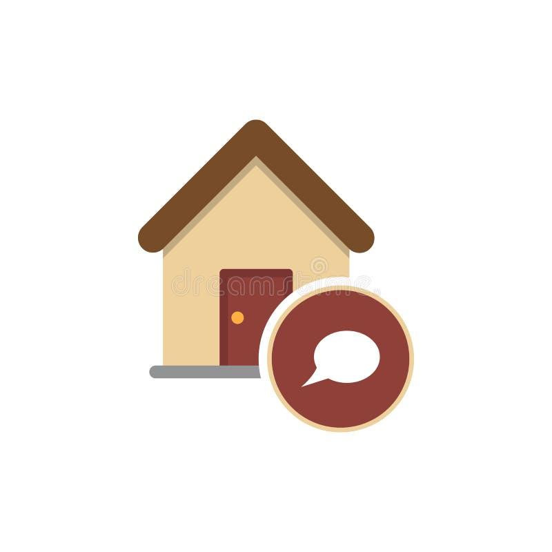 Casa del messaggio del bene immobile nell'icona semplice del segno della bolla su fondo royalty illustrazione gratis