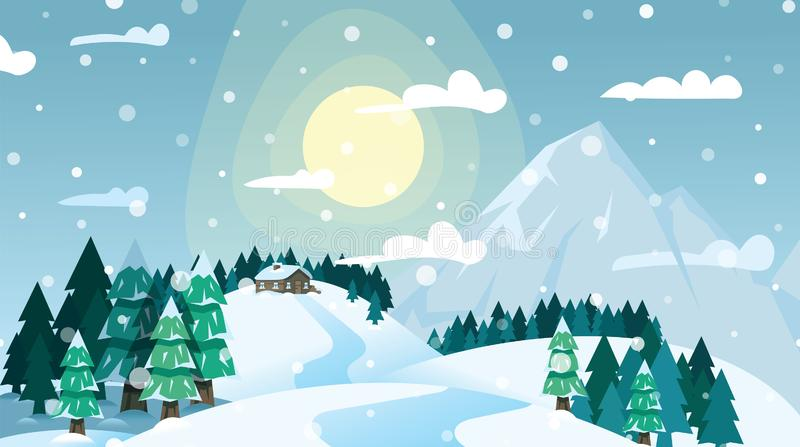 Casa del paisaje del invierno en bosque conífero nevoso y montañas en el cielo azul y el fondo brillante del sol Bosque congelado libre illustration